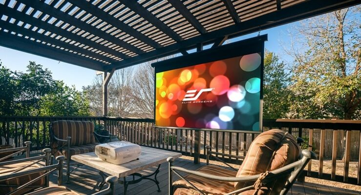 projector screen during day